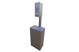 Hand Sanitizer Station Post Mount with Receptacle In Ground